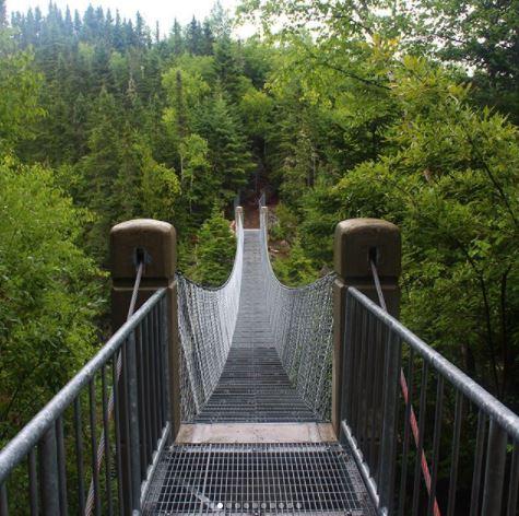 White River suspension bridge at Pukaskwa National Park, Ontario, Canada